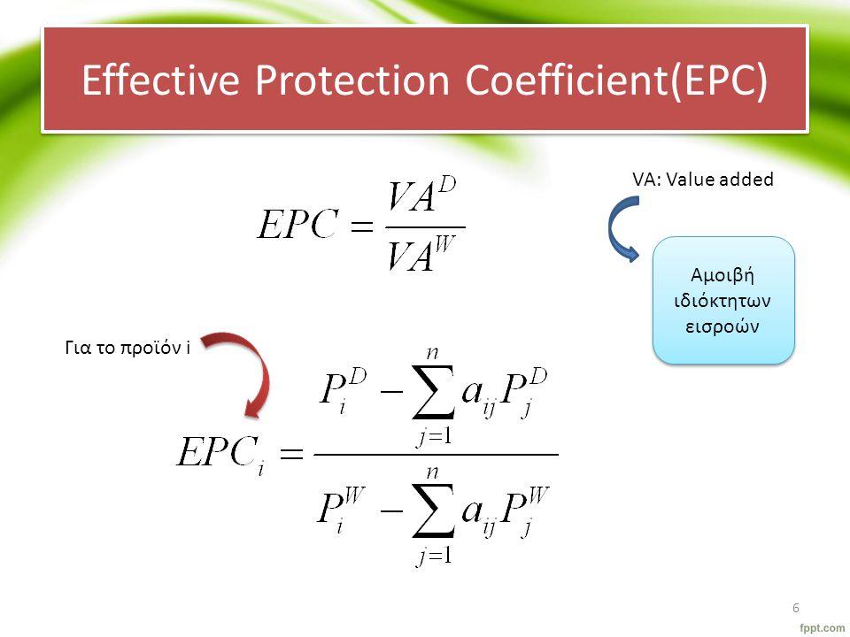 Effective Protection Coefficient(EPC) VA: Value added Για το προϊόν i Αμοιβή ιδιόκτητων εισροών 6