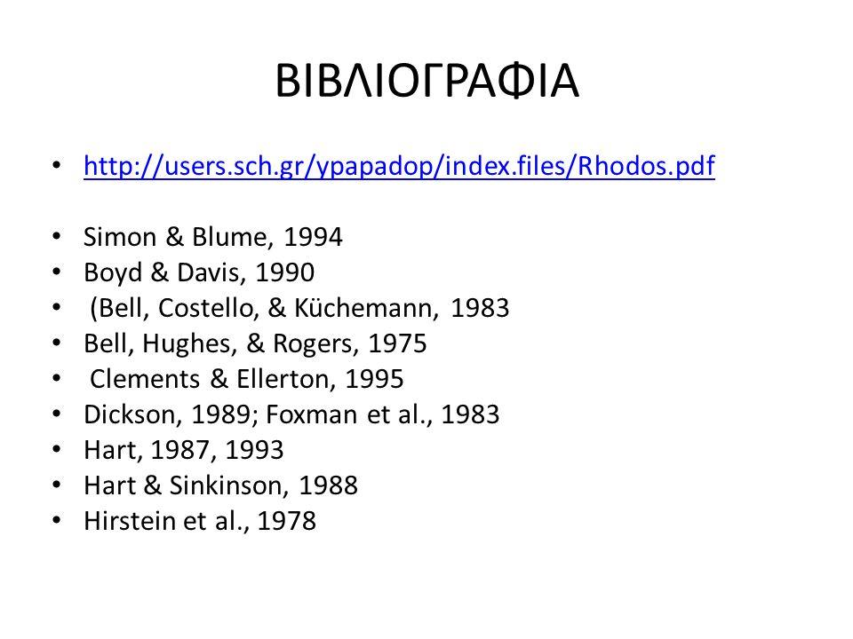 ΒΙΒΛΙΟΓΡΑΦΙΑ http://users.sch.gr/ypapadop/index.files/Rhodos.pdf Simon & Blume, 1994 Boyd & Davis, 1990 (Bell, Costello, & Küchemann, 1983 Bell, Hughe