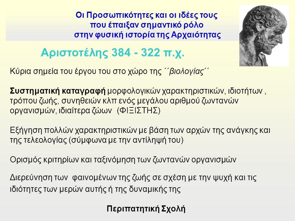 Οι Προσωπικότητες και οι ιδέες τους που έπαιξαν σημαντικό ρόλο στην φυσική ιστορία της Αρχαιότητας Αριστοτέλης 384 - 322 π.χ.