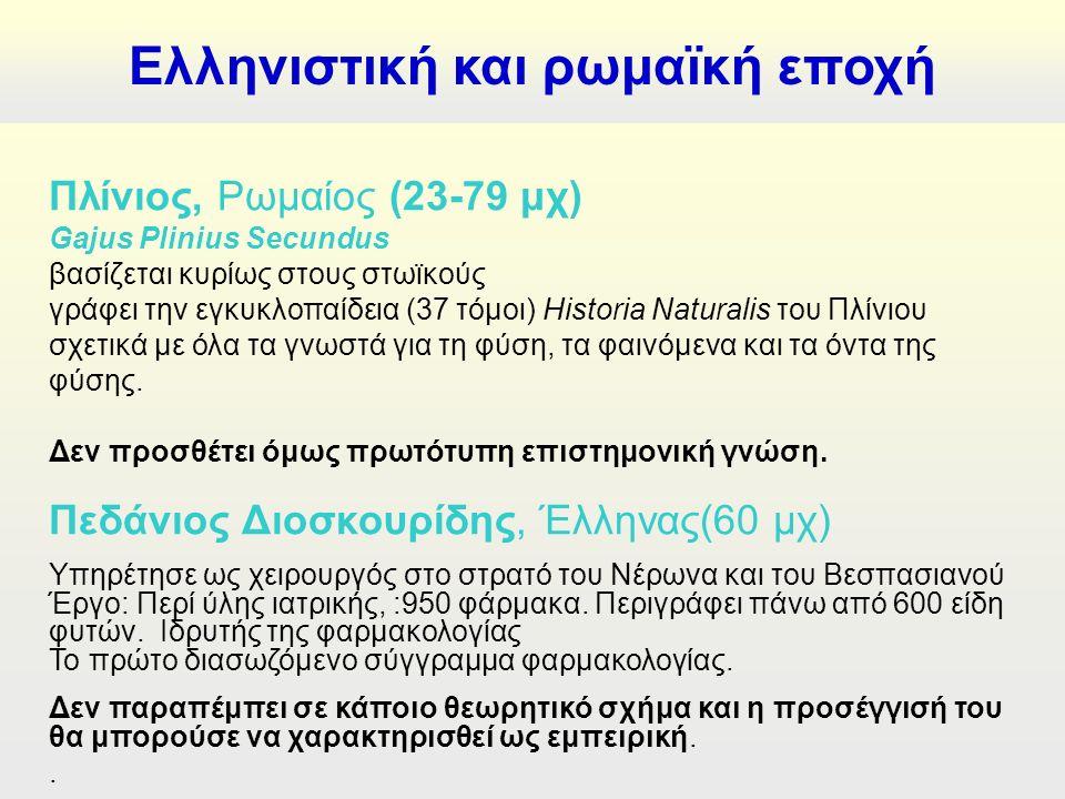 Πλίνιος, Ρωμαίος (23-79 μχ) Gajus Plinius Secundus βασίζεται κυρίως στους στωϊκούς γράφει την εγκυκλοπαίδεια (37 τόμοι) Ηistoria Naturalis του Πλίνιου σχετικά με όλα τα γνωστά για τη φύση, τα φαινόμενα και τα όντα της φύσης.