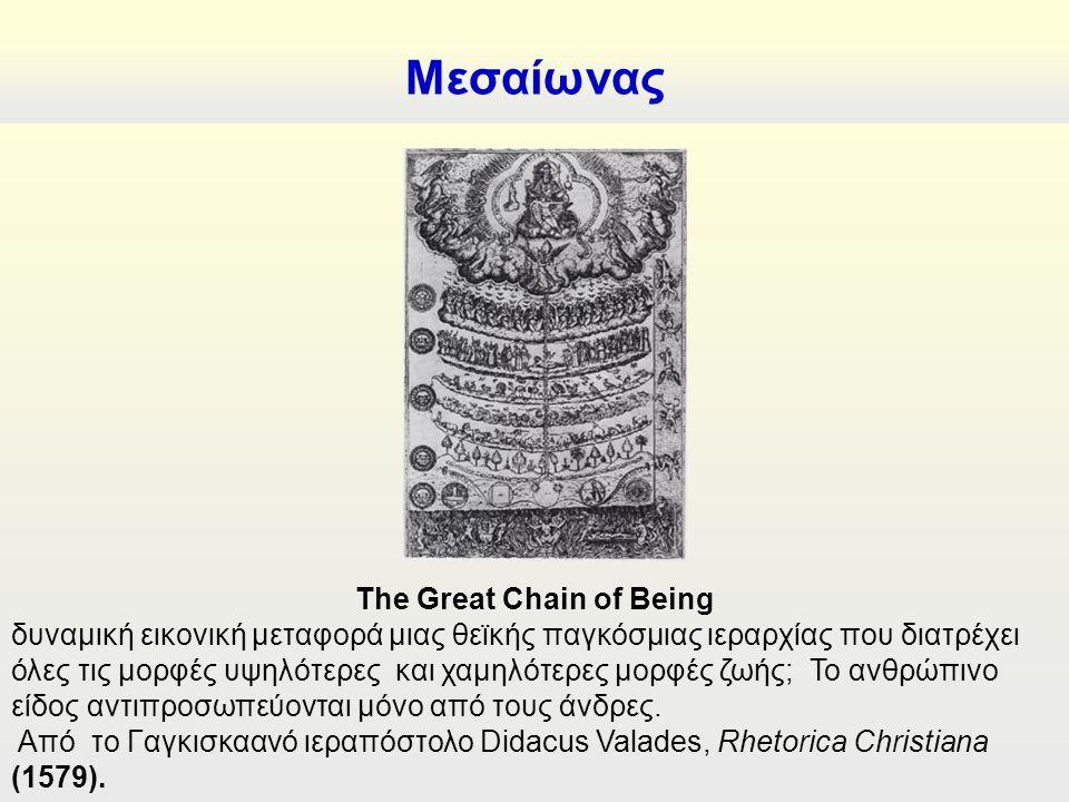 Μεσαίωνας The Great Chain of Being δυναμική εικονική μεταφορά μιας θεϊκής παγκόσμιας ιεραρχίας που διατρέχει όλες τις μορφές υψηλότερες και χαμηλότερες μορφές ζωής; Το ανθρώπινο είδος αντιπροσωπεύονται μόνο από τους άνδρες.