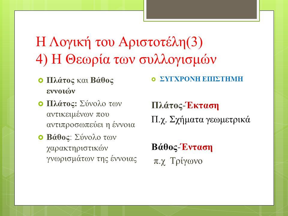 Η Λογική του Αριστοτέλη(3) 4) Η Θεωρία των συλλογισμών  Πλάτος και Βάθος εννοιών  Πλάτος: Σύνολο των αντικειμένων που αντιπροσωπεύει η έννοια  Βάθος: Σύνολο των χαρακτηριστικών γνωρισμάτων της έννοιας  ΣΥΓΧΡΟΝΗ ΕΠΙΣΤΗΜΗ Πλάτος-Έκταση Π.χ.