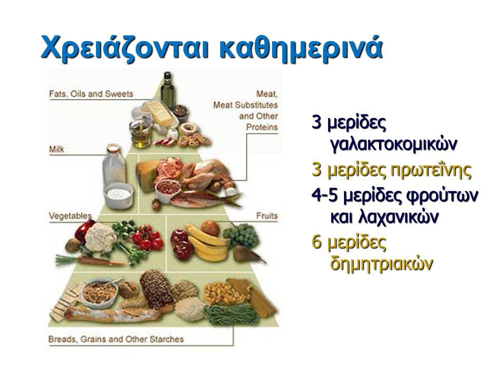 Χρειάζονται καθημερινά 3 μερίδες γαλακτοκομικών 3 μερίδες πρωτεΐνης 4-5 μερίδες φρούτων και λαχανικών 6 μερίδες δημητριακών