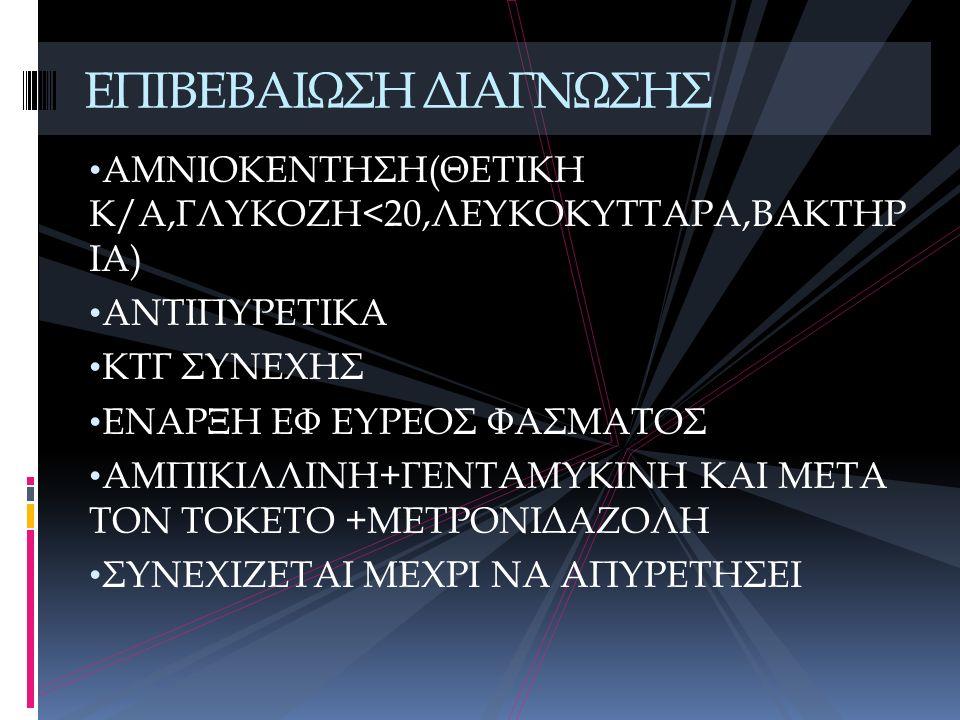 ΑΜΝΙΟΚΕΝΤΗΣΗ(ΘΕΤΙΚΗ Κ/Α,ΓΛΥΚΟΖΗ<20,ΛΕΥΚΟΚΥΤΤΑΡΑ,ΒΑΚΤΗΡ ΙΑ) ΑΝΤΙΠΥΡΕΤΙΚΑ ΚΤΓ ΣΥΝΕΧΗΣ ΕΝΑΡΞΗ ΕΦ ΕΥΡΕΟΣ ΦΑΣΜΑΤΟΣ ΑΜΠΙΚΙΛΛΙΝΗ+ΓΕΝΤΑΜΥΚΙΝΗ ΚΑΙ ΜΕΤΑ ΤΟΝ ΤΟΚ