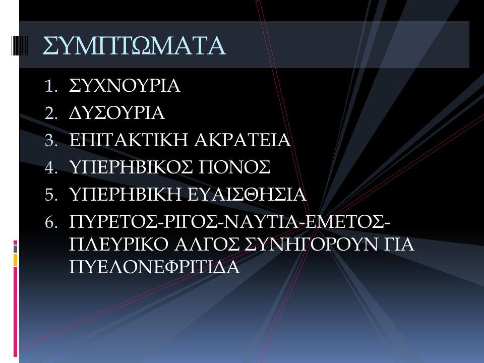 1. ΣΥΧΝΟΥΡΙΑ 2. ΔΥΣΟΥΡΙΑ 3. ΕΠΙΤΑΚΤΙΚΗ ΑΚΡΑΤΕΙΑ 4. ΥΠΕΡΗΒΙΚΟΣ ΠΟΝΟΣ 5. ΥΠΕΡΗΒΙΚΗ ΕΥΑΙΣΘΗΣΙΑ 6. ΠΥΡΕΤΟΣ-ΡΙΓΟΣ-ΝΑΥΤΙΑ-ΕΜΕΤΟΣ- ΠΛΕΥΡΙΚΟ ΑΛΓΟΣ ΣΥΝΗΓΟΡΟΥΝ