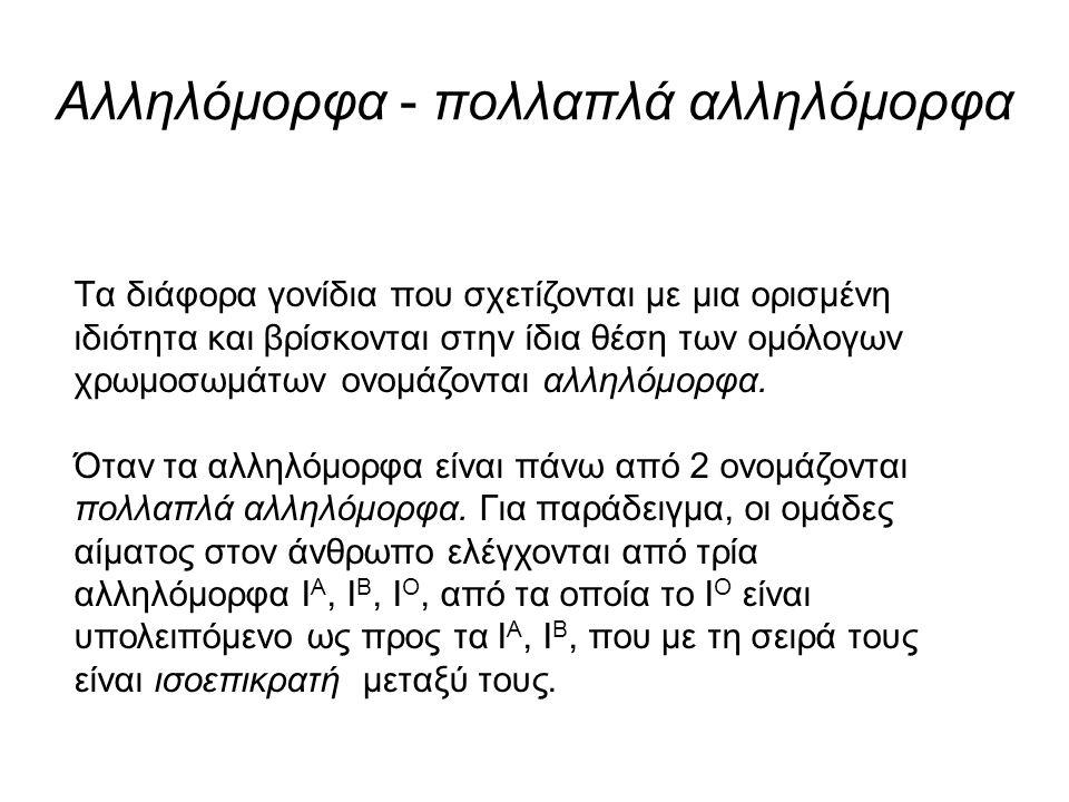 Γονότυποι ομάδων αίματος στον άνθρωπο ΦΑΙΝΟΤΥΠΟΣ (ΤΥΠΟΣ ΑΙΜΑΤΟΣ) ΓΟΝΟΤΥΠΟΣΑΝΤΙΓΟΝΑΑΝΤΙΣΩΜΑΤΑ ΑΙ Α Ι Α ή Ι Α Ι Ο Ααντι-Β ΒΙ Β Ι Β ή Ι Β Ι Ο Βαντι-Α ΑΒΙ Α Ι Β ΑΒ- ΟΙ Ο -αντι-Α, αντι-Β