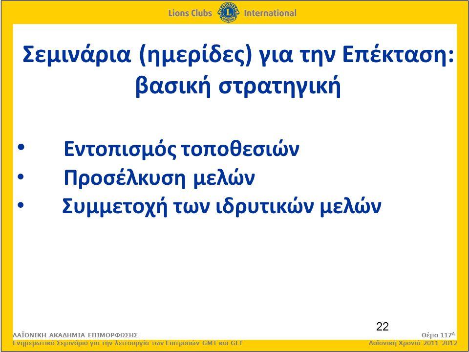 22 Σεμινάρια (ημερίδες) για την Επέκταση: βασική στρατηγική Εντοπισμός τοποθεσιών Προσέλκυση μελών Συμμετοχή των ιδρυτικών μελών ΛΑΪΟΝΙΚΗ ΑΚΑΔΗΜΙΑ ΕΠΙΜΟΡΦΩΣΗΣ Θέμα 117 Α Ενημερωτικό Σεμινάριο για την λειτουργία των Επιτροπών GMT και GLT Λαϊονική Χρονιά 2011-2012