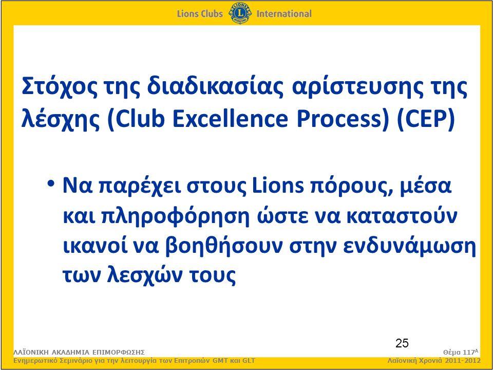 25 Στόχος της διαδικασίας αρίστευσης της λέσχης (Club Excellence Process) (CEP) Να παρέχει στους Lions πόρους, μέσα και πληροφόρηση ώστε να καταστούν ικανοί να βοηθήσουν στην ενδυνάμωση των λεσχών τους ΛΑΪΟΝΙΚΗ ΑΚΑΔΗΜΙΑ ΕΠΙΜΟΡΦΩΣΗΣ Θέμα 117 Α Ενημερωτικό Σεμινάριο για την λειτουργία των Επιτροπών GMT και GLT Λαϊονική Χρονιά 2011-2012