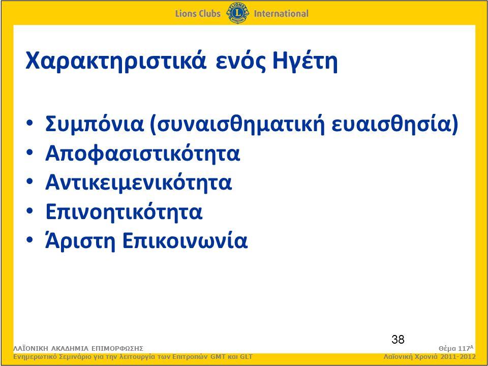38 Χαρακτηριστικά ενός Ηγέτη Συμπόνια (συναισθηματική ευαισθησία) Αποφασιστικότητα Αντικειμενικότητα Επινοητικότητα Άριστη Επικοινωνία ΛΑΪΟΝΙΚΗ ΑΚΑΔΗΜΙΑ ΕΠΙΜΟΡΦΩΣΗΣ Θέμα 117 Α Ενημερωτικό Σεμινάριο για την λειτουργία των Επιτροπών GMT και GLT Λαϊονική Χρονιά 2011-2012