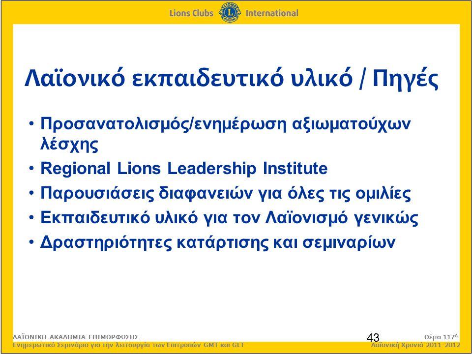 Λαϊονικό εκπαιδευτικό υλικό / Πηγές 43 Προσανατολισμός/ενημέρωση αξιωματούχων λέσχης Regional Lions Leadership Institute Παρουσιάσεις διαφανειών για όλες τις ομιλίες Εκπαιδευτικό υλικό για τον Λαϊονισμό γενικώς Δραστηριότητες κατάρτισης και σεμιναρίων ΛΑΪΟΝΙΚΗ ΑΚΑΔΗΜΙΑ ΕΠΙΜΟΡΦΩΣΗΣ Θέμα 117 Α Ενημερωτικό Σεμινάριο για την λειτουργία των Επιτροπών GMT και GLT Λαϊονική Χρονιά 2011-2012