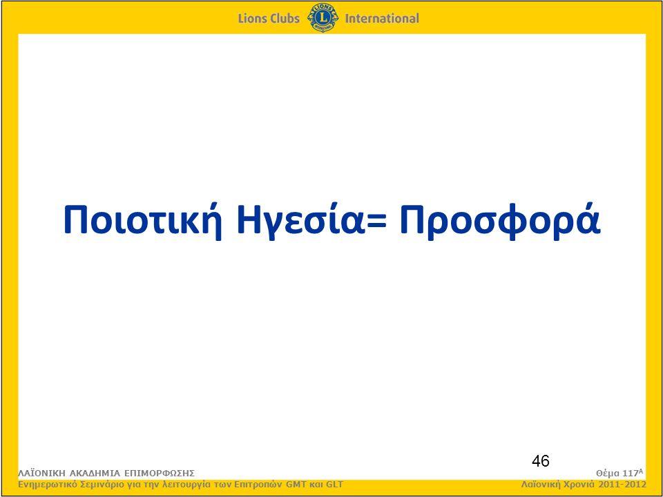 46 Ποιοτική Ηγεσία= Προσφορά ΛΑΪΟΝΙΚΗ ΑΚΑΔΗΜΙΑ ΕΠΙΜΟΡΦΩΣΗΣ Θέμα 117 Α Ενημερωτικό Σεμινάριο για την λειτουργία των Επιτροπών GMT και GLT Λαϊονική Χρονιά 2011-2012