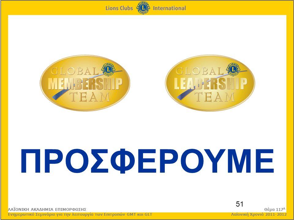 51 ΠΡΟΣΦΕΡΟΥΜΕ ΛΑΪΟΝΙΚΗ ΑΚΑΔΗΜΙΑ ΕΠΙΜΟΡΦΩΣΗΣ Θέμα 117 Α Ενημερωτικό Σεμινάριο για την λειτουργία των Επιτροπών GMT και GLT Λαϊονική Χρονιά 2011-2012