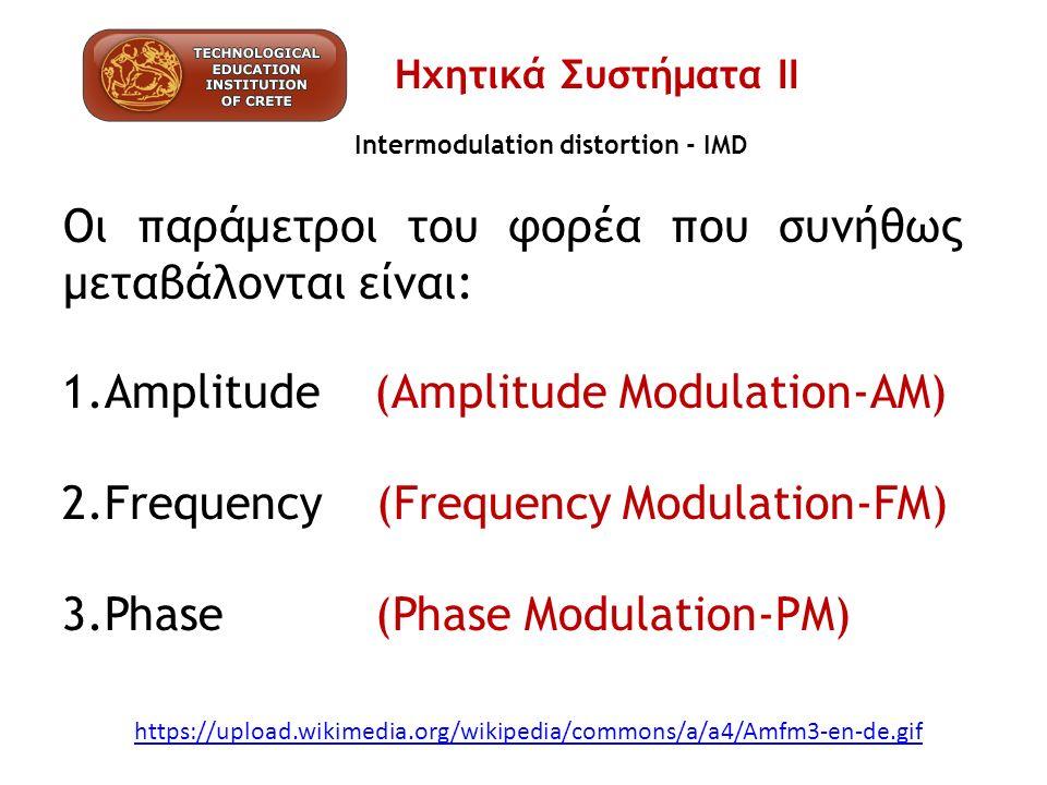 Intermodulation distortion - IMD https://upload.wikimedia.org/wikipedia/commons/a/a4/Amfm3-en-de.gif 1.Amplitude (Amplitude Modulation-AM) 2.Frequency
