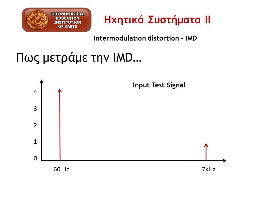 Intermodulation distortion - IMD Πως μετράμε την IMD… 4321043210 60 Hz 7kHz Input Test Signal Ηχητικά Συστήματα ΙΙ