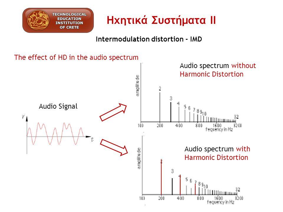 Intermodulation distortion - IMD Πως μετράμε την IMD… Η Παραμόρφωση Ενδοδιαμόρφωση στον ήχο συνήθως ορίζεται ως η μέση τιμή (RMS) των διαφόρων σημάτων Αθρίσματα και Διαφορές ως ποσοστό της τάσης RMS του αρχικού σήματος Για την συχνότητες είσοδου F1 και F2 60Hz 7kHz, με τάσεις V1 και V2 αντίστοιχα και VD i η τάση του προϊόντων συχνότητων, (παραμόρφωση) για ένα «n» αριθμό προϊόντων συχνότητων η έκφραση % του IMD θα δίνεται από την εξίσωση: Ηχητικά Συστήματα ΙΙ