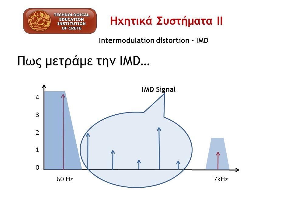 Intermodulation distortion - IMD Πως μετράμε την IMD… 4321043210 60 Hz 7kHz IMD Signal Ηχητικά Συστήματα ΙΙ