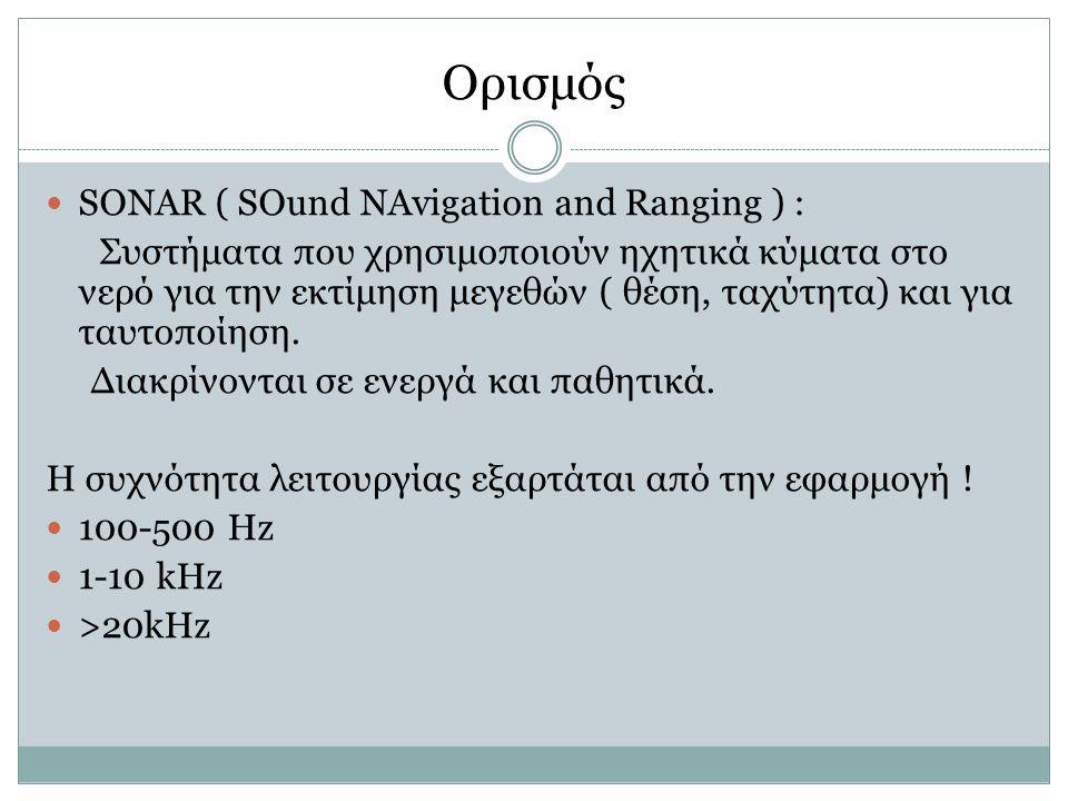 Ορισμός SONAR ( SOund NAvigation and Ranging ) : Συστήματα που χρησιμοποιούν ηχητικά κύματα στο νερό για την εκτίμηση μεγεθών ( θέση, ταχύτητα) και για ταυτοποίηση.