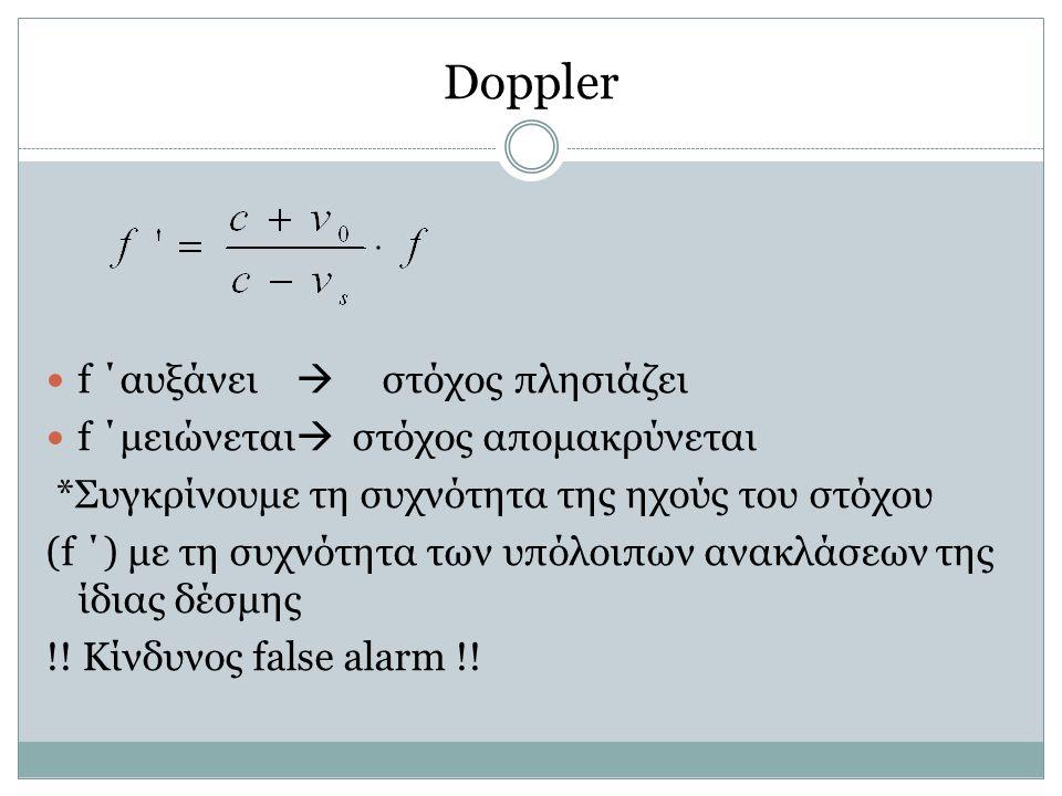Doppler f ΄αυξάνει  στόχος πλησιάζει f ΄μειώνεται  στόχος απομακρύνεται *Συγκρίνουμε τη συχνότητα της ηχούς του στόχου (f ΄) με τη συχνότητα των υπό