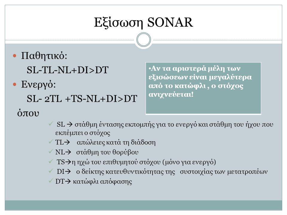 Εξίσωση SONAR Παθητικό: SL-TL-NL+DI>DT Ενεργό: SL- 2TL +TS-NL+DI>DT όπου SL  στάθμη έντασης εκπομπής για το ενεργό και στάθμη του ήχου που εκπέμπει ο στόχος TL  απώλειες κατά τη διάδοση NL  στάθμη του θορύβου TS  η ηχώ του επιθυμητού στόχου (μόνο για ενεργό) DI  o δείκτης κατευθυντικότητας της συστοιχίας των μετατροπέων DT  κατώφλι απόφασης Αν τα αριστερά μέλη των εξισώσεων είναι μεγαλύτερα από το κατώφλι, ο στόχος ανιχνεύεται!