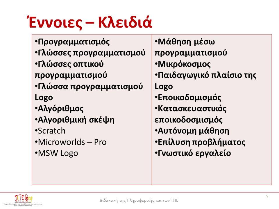 Διδακτική της Πληροφορικής και των ΤΠΕ Έννοιες – Κλειδιά Προγραμματισμός Γλώσσες προγραμματισμού Γλώσσες οπτικού προγραμματισμού Γλώσσα προγραμματισμού Logo Αλγόριθμος Αλγοριθμική σκέψη Scratch Microworlds – Pro MSW Logo Μάθηση μέσω προγραμματισμού Μικρόκοσμος Παιδαγωγικό πλαίσιο της Logo Εποικοδομισμός Κατασκευαστικός εποικοδοσμισμός Αυτόνομη μάθηση Επίλυση προβλήματος Γνωστικό εργαλείο 5