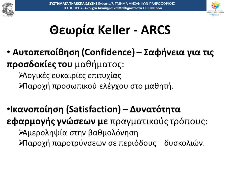 2121 -,, ΤΕΙ ΗΠΕΙΡΟΥ - Ανοιχτά Ακαδημαϊκά Μαθήματα στο ΤΕΙ Ηπείρου Θεωρία Keller - ARCS ΣΥΣΤΗΜΑΤΑ ΤΗΛΕΚΠΑΙΔΕΥΣΗΣ Ενότητα 7, ΤΜΗΜΑ ΜΗΧΑΝΙΚΩΝ ΠΛΗΡΟΦΟΡΙΚΗΣ, ΤΕΙ ΗΠΕΙΡΟΥ- Ανοιχτά Ακαδημαϊκά Μαθήματα στο ΤΕΙ Ηπείρου Αυτοπεποίθηση (Confidence) – Σαφήνεια για τις προσδοκίες του μαθήματος:  Λογικές ευκαιρίες επιτυχίας  Παροχή προσωπικού ελέγχου στο μαθητή.
