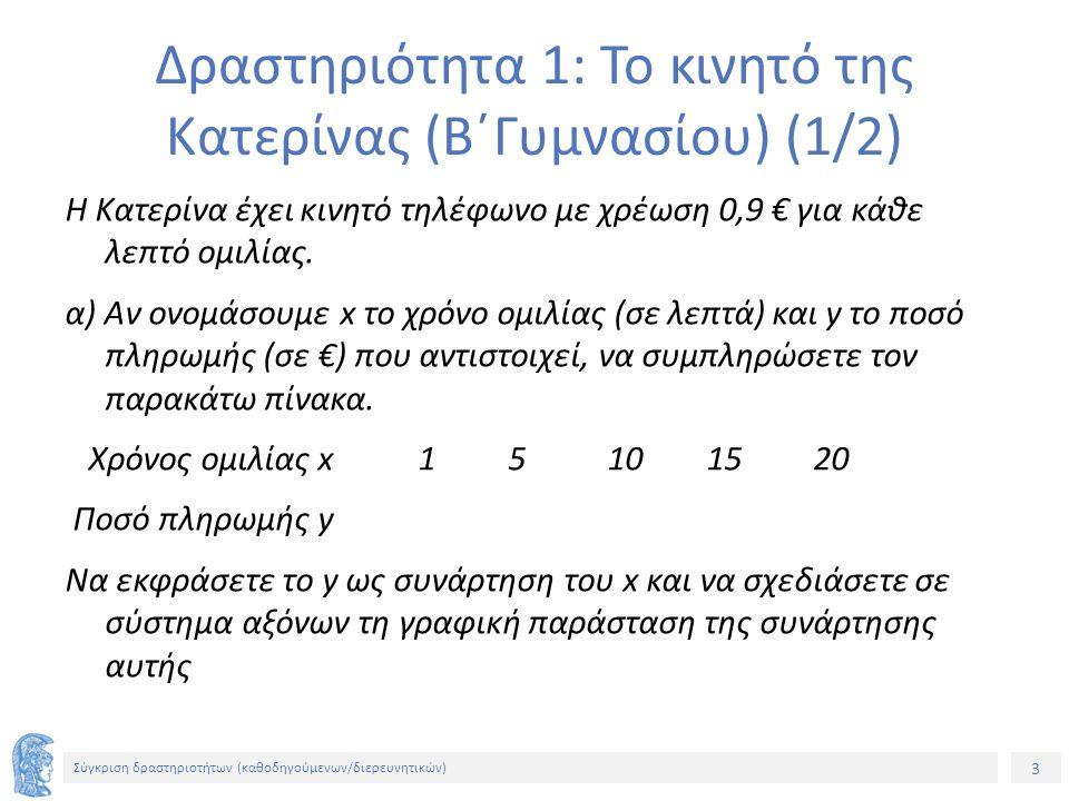 3 Σύγκριση δραστηριοτήτων (καθοδηγούμενων/διερευνητικών) Δραστηριότητα 1: Το κινητό της Κατερίνας (Β΄Γυμνασίου) (1/2) Η Κατερίνα έχει κινητό τηλέφωνο με χρέωση 0,9 € για κάθε λεπτό ομιλίας.