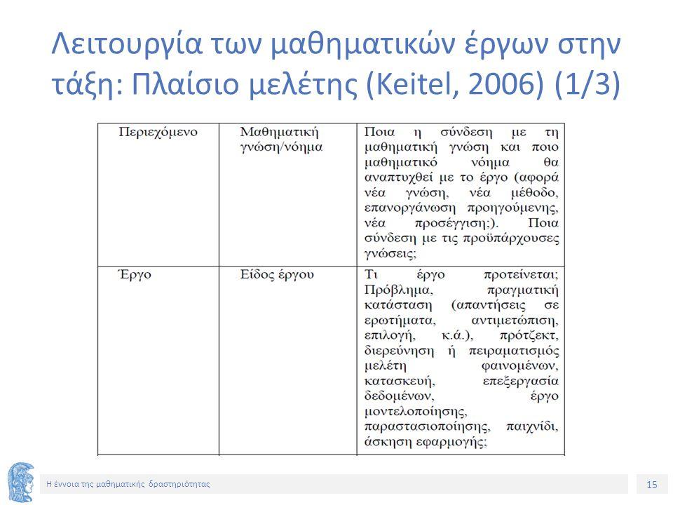 15 H έννοια της μαθηματικής δραστηριότητας Λειτουργία των μαθηματικών έργων στην τάξη: Πλαίσιο μελέτης (Keitel, 2006) (1/3)