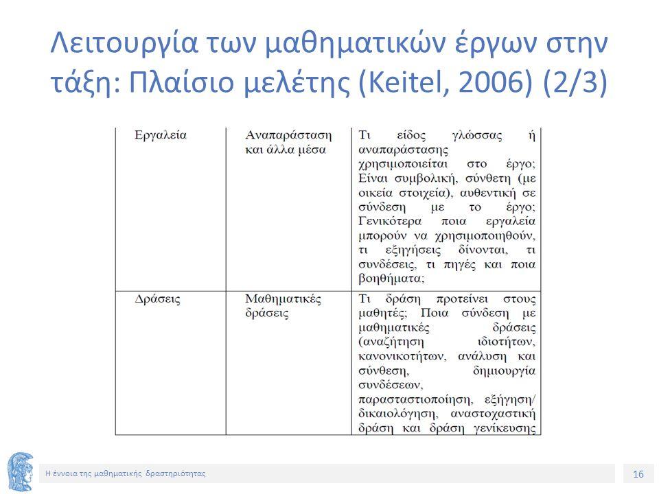 16 H έννοια της μαθηματικής δραστηριότητας Λειτουργία των μαθηματικών έργων στην τάξη: Πλαίσιο μελέτης (Keitel, 2006) (2/3)