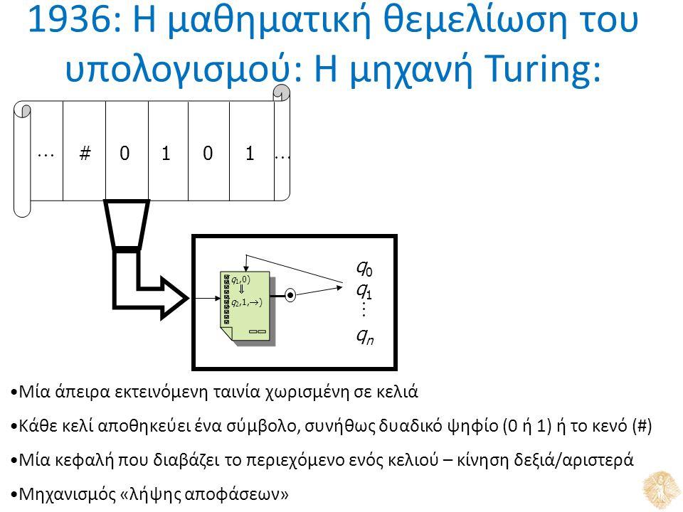 1936: Η μαθηματική θεμελίωση του υπολογισμού: Η μηχανή Turing: #0101  q0q1qnq0q1qn (q 1,0)  (q 2,1,  )  Μία άπειρα εκτεινόμενη ταινία χωρισμένη σε κελιά Κάθε κελί αποθηκεύει ένα σύμβολο, συνήθως δυαδικό ψηφίο (0 ή 1) ή το κενό (#) Μία κεφαλή που διαβάζει το περιεχόμενο ενός κελιού – κίνηση δεξιά/αριστερά Μηχανισμός «λήψης αποφάσεων»