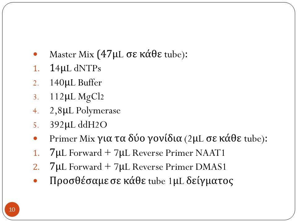 Master Mix (47 μ L σε κάθε tube): 1. 14 μ L dNTPs 2.