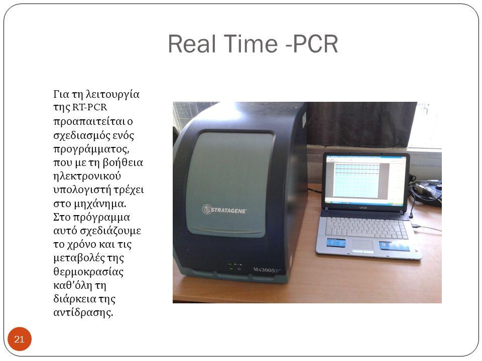Real Time -PCR Για τη λειτουργία της RT-PCR προαπαιτείται ο σχεδιασμός ενός προγράμματος, που με τη βοήθεια ηλεκτρονικού υπολογιστή τρέχει στο μηχάνημα.