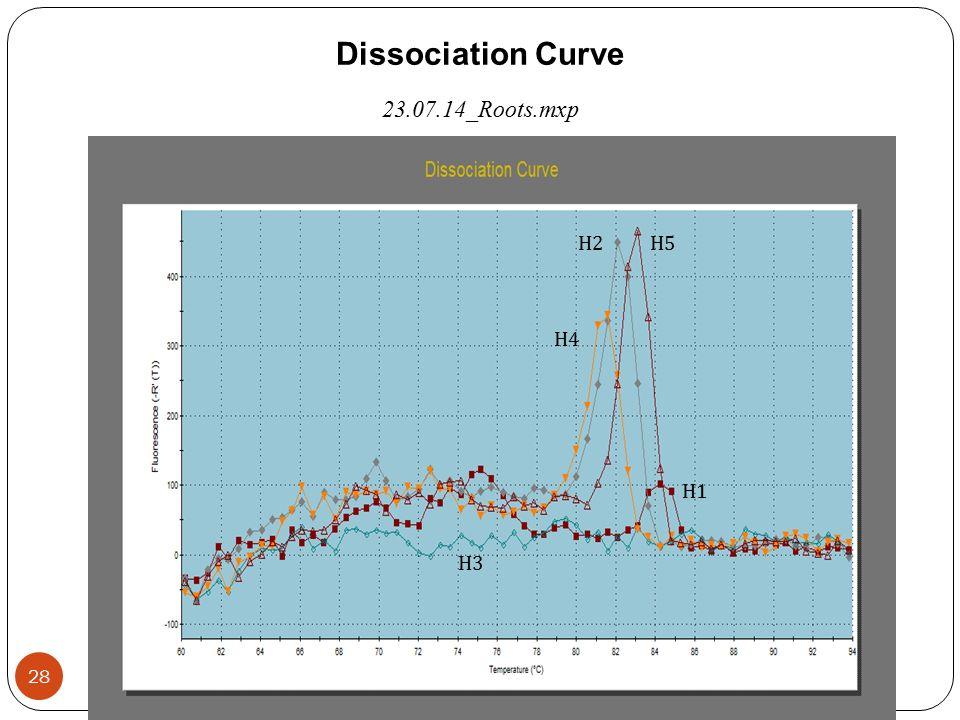 Dissociation Curve 23.07.14_Roots.mxp Η3Η3 Η5Η5 Η2Η2 Η4Η4 Η1Η1 28