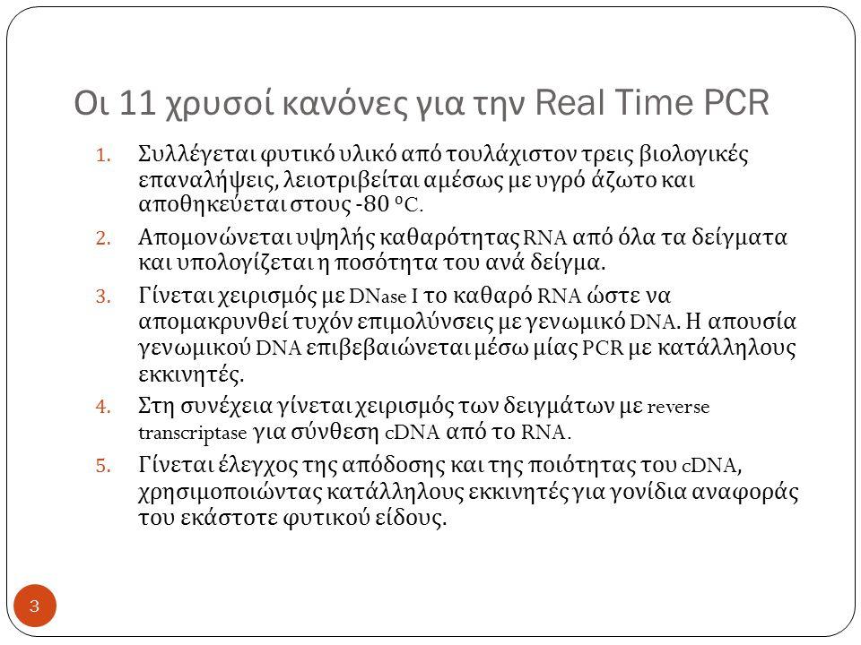 Οι 11 χρυσοί κανόνες για την Real Time PCR 1.