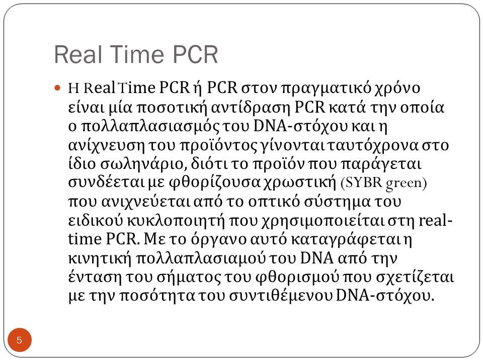 Real Time PCR H Real Time PCR ή PCR στον πραγματικό χρόνο είναι μία ποσοτική αντίδραση PCR κατά την οποία ο πολλαπλασιασμός του DNA- στόχου και η ανίχνευση του προϊόντος γίνονται ταυτόχρονα στο ίδιο σωληνάριο, διότι το προϊόν που παράγεται συνδέεται με φθορίζουσα χρωστική (SYBR green) που ανιχνεύεται από το οπτικό σύστημα του ειδικού κυκλοποιητή που χρησιμοποιείται στη real- time PCR.