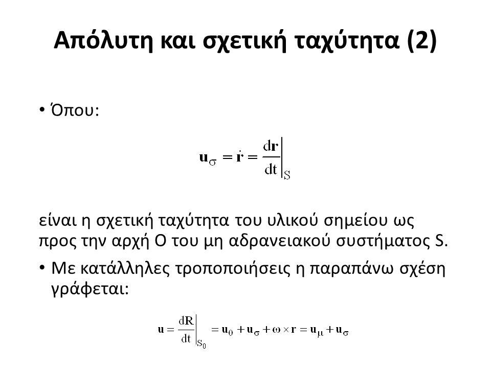 Απόλυτη και σχετική ταχύτητα (2) Όπου: είναι η σχετική ταχύτητα του υλικού σημείου ως προς την αρχή O του μη αδρανειακού συστήματος S.