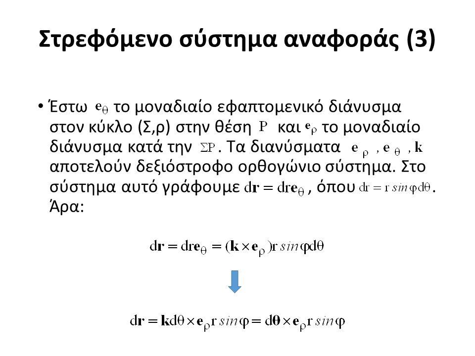 Στρεφόμενο σύστημα αναφοράς (4) Όμως ισχύει ότι: Συνεπώς: