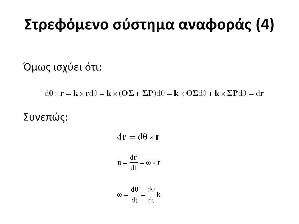Στρεφόμενο σύστημα αναφοράς (5) Έστω επίσης δεύτερο σύστημα αναφοράς με αρχή το σημείο O και με μοναδιαία διανύσματα Το σύστημα είναι ακίνητο ενώ το σύστημα S στρέφεται περί το O με γωνιακή ταχύτητα.