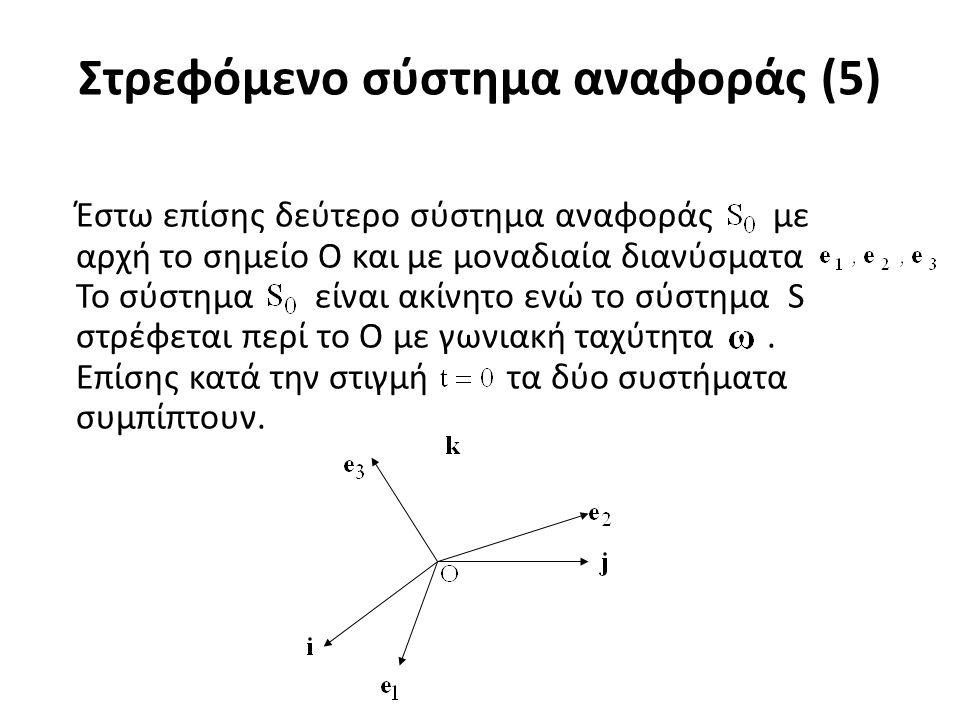 Στρεφόμενο σύστημα αναφοράς (6) Θεωρούμε διάνυσμα A, το οποίο μεταβάλλεται με τον χρόνο.