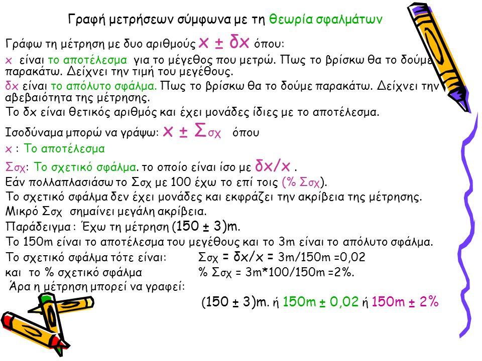 Γραφή μετρήσεων σύμφωνα με τη θεωρία σφαλμάτων Γράφω τη μέτρηση με δυο αριθμούς x ± δx όπου: x είναι το αποτέλεσμα για το μέγεθος που μετρώ. Πως το βρ