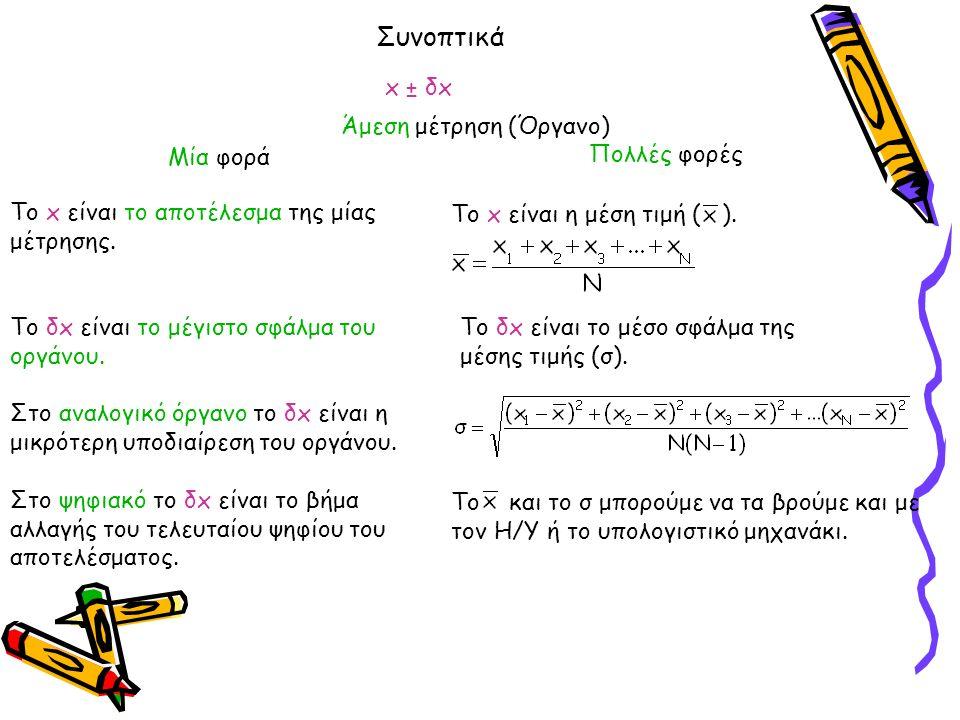 Συνοπτικά Άμεση μέτρηση (Όργανο) Το x είναι το αποτέλεσμα της μίας μέτρησης.