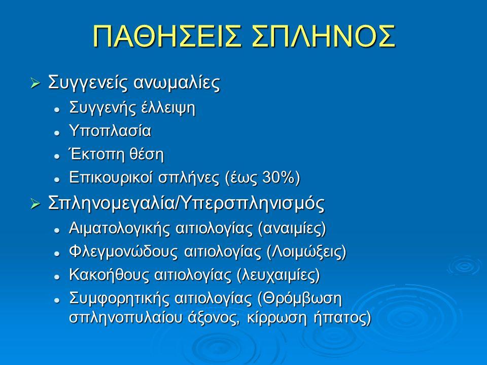 ΠΑΘΗΣΕΙΣ ΣΠΛΗΝΟΣ  Συγγενείς ανωμαλίες Συγγενής έλλειψη Συγγενής έλλειψη Υποπλασία Υποπλασία Έκτοπη θέση Έκτοπη θέση Επικουρικοί σπλήνες (έως 30%) Επικουρικοί σπλήνες (έως 30%)  Σπληνομεγαλία/Υπερσπληνισμός Αιματολογικής αιτιολογίας (αναιμίες) Αιματολογικής αιτιολογίας (αναιμίες) Φλεγμονώδους αιτιολογίας (Λοιμώξεις) Φλεγμονώδους αιτιολογίας (Λοιμώξεις) Κακοήθους αιτιολογίας (λευχαιμίες) Κακοήθους αιτιολογίας (λευχαιμίες) Συμφορητικής αιτιολογίας (Θρόμβωση σπληνοπυλαίου άξονος, κίρρωση ήπατος) Συμφορητικής αιτιολογίας (Θρόμβωση σπληνοπυλαίου άξονος, κίρρωση ήπατος)