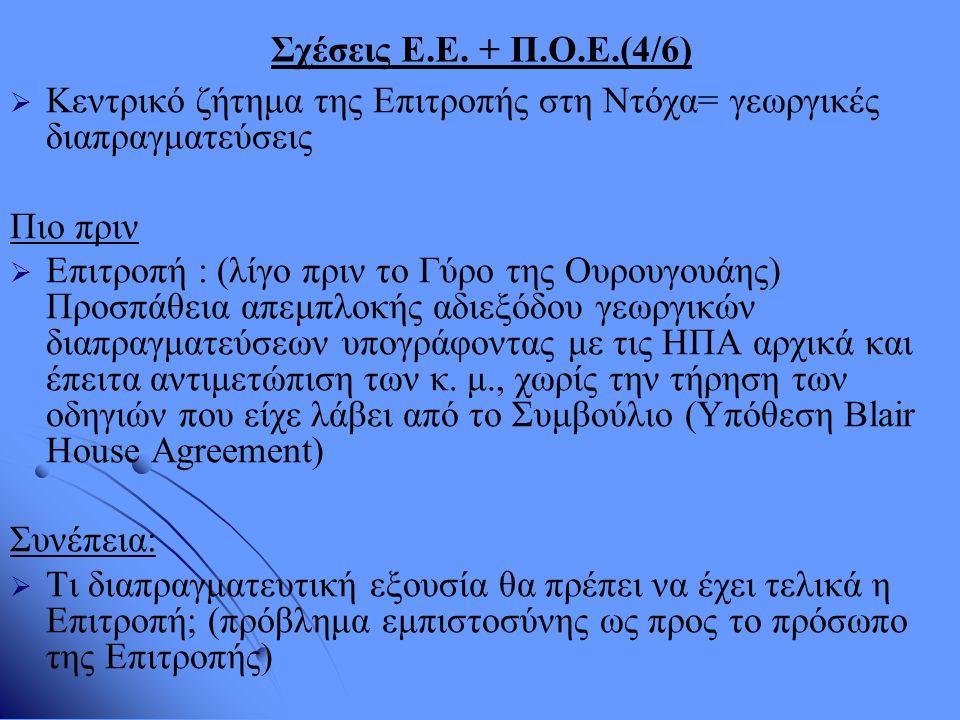 Σχέσεις Ε.Ε. + Π.Ο.Ε.(4/6)   Κεντρικό ζήτημα της Επιτροπής στη Ντόχα= γεωργικές διαπραγματεύσεις Πιο πριν   Επιτροπή : (λίγο πριν το Γύρο της Ουρο
