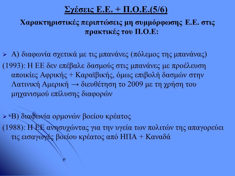 Σχέσεις Ε.Ε. + Π.Ο.Ε.(5/6) Χαρακτηριστικές περιπτώσεις μη συμμόρφωσης Ε.Ε. στις πρακτικές του Π.Ο.Ε:   Α) διαφωνία σχετικά με τις μπανάνες (πόλεμος