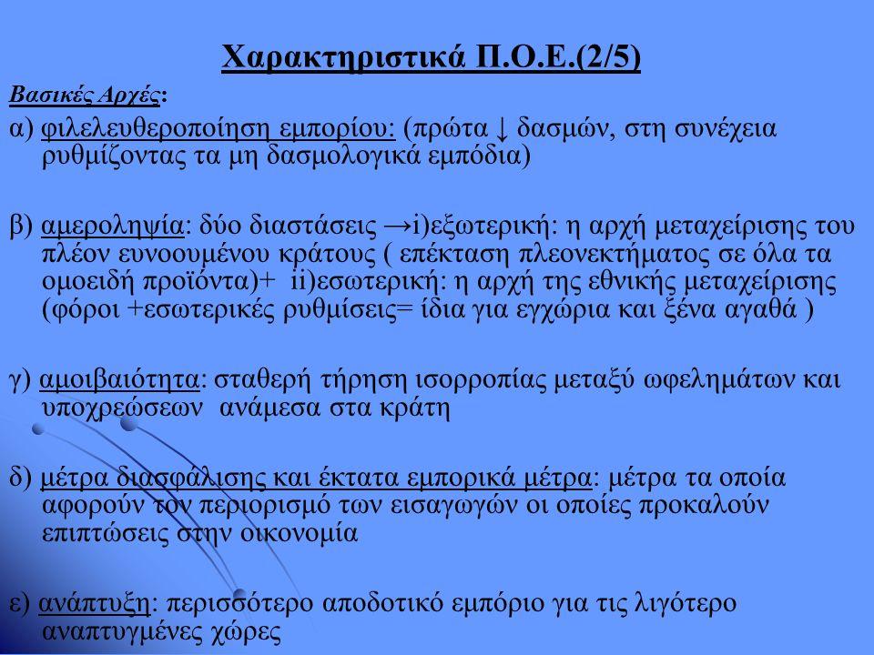 Χαρακτηριστικά Π.Ο.Ε.(2/5) Βασικές Αρχές: α) φιλελευθεροποίηση εμπορίου: (πρώτα ↓ δασμών, στη συνέχεια ρυθμίζοντας τα μη δασμολογικά εμπόδια) β) αμερο