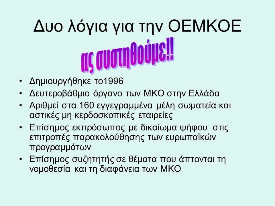 Δυο λόγια για την ΟΕΜΚΟΕ Δημιουργήθηκε το1996 Δευτεροβάθμιο όργανο των ΜΚΟ στην Ελλάδα Αριθμεί στα 160 εγγεγραμμένα μέλη σωματεία και αστικές μη κερδοσκοπικές εταιρείες Επίσημος εκπρόσωπος με δικαίωμα ψήφου στις επιτροπές παρακολούθησης των ευρωπαϊκών προγραμμάτων Επίσημος συζητητής σε θέματα που άπτονται τη νομοθεσία και τη διαφάνεια των ΜΚΟ