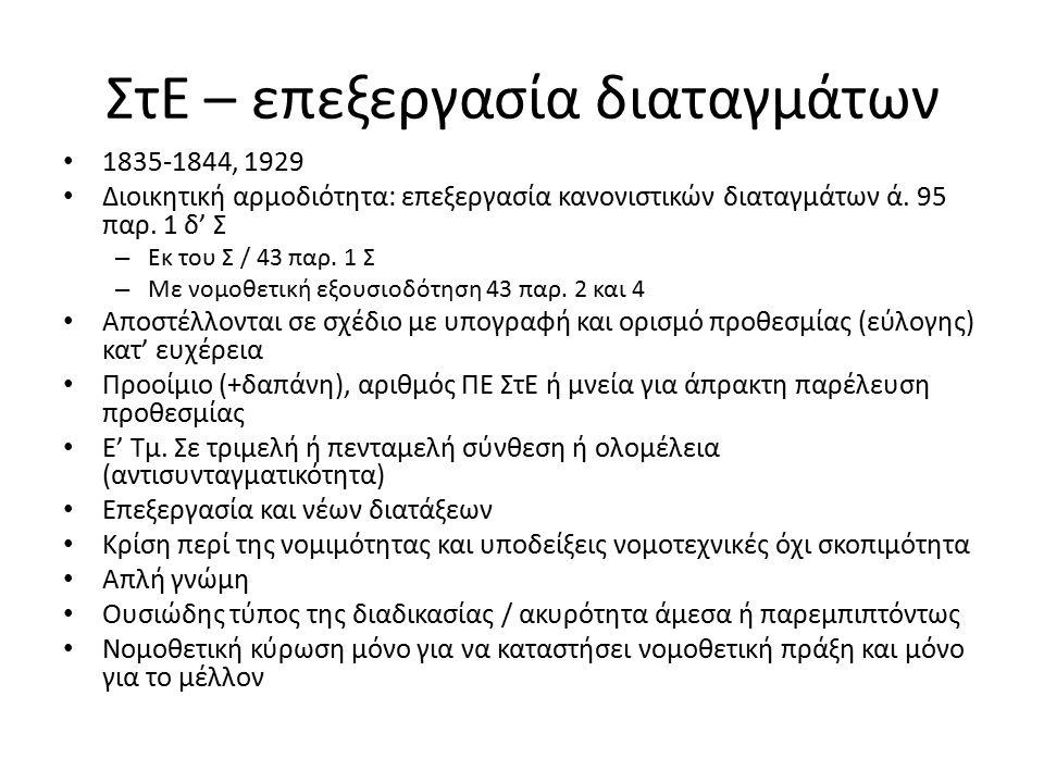 ΣτΕ – επεξεργασία διαταγμάτων 1835-1844, 1929 Διοικητική αρμοδιότητα: επεξεργασία κανονιστικών διαταγμάτων ά.