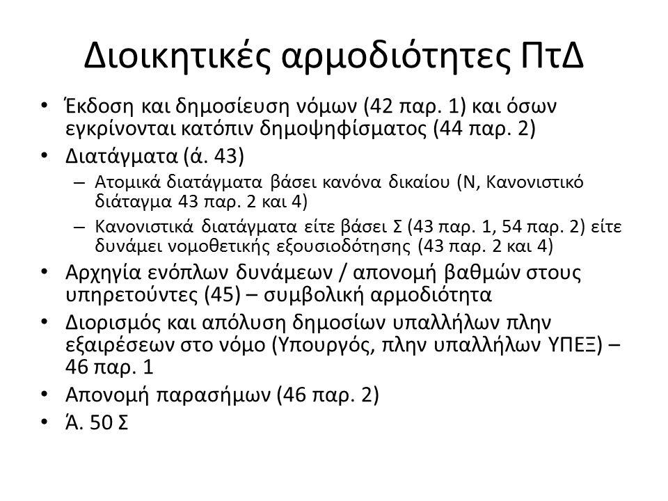 Διοικητικές αρμοδιότητες ΠτΔ Έκδοση και δημοσίευση νόμων (42 παρ.