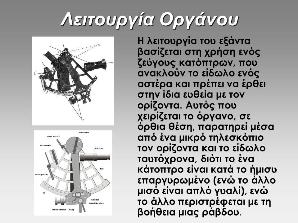Λειτουργία Οργάνου Η λειτουργία του εξάντα βασίζεται στη χρήση ενός ζεύγους κατόπτρων, που ανακλούν το είδωλο ενός αστέρα και πρέπει να έρθει στην ίδι