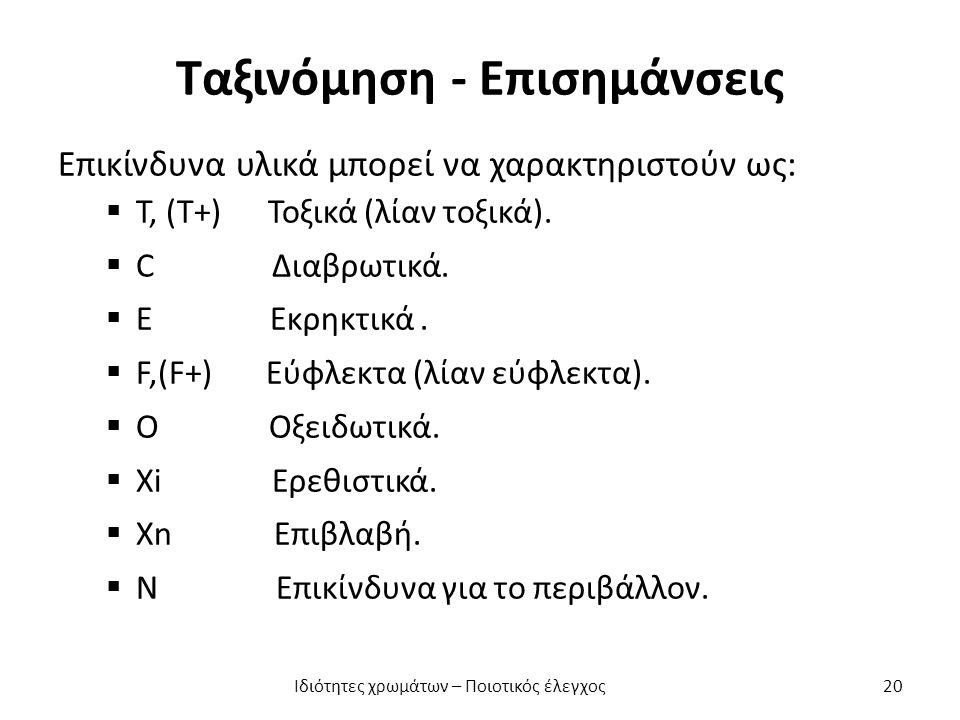 Ταξινόμηση - Επισημάνσεις Επικίνδυνα υλικά μπορεί να χαρακτηριστούν ως:  Τ, (Τ+) Τοξικά (λίαν τοξικά).  C Διαβρωτικά.  E Εκρηκτικά.  F,(F+) Εύφλεκ