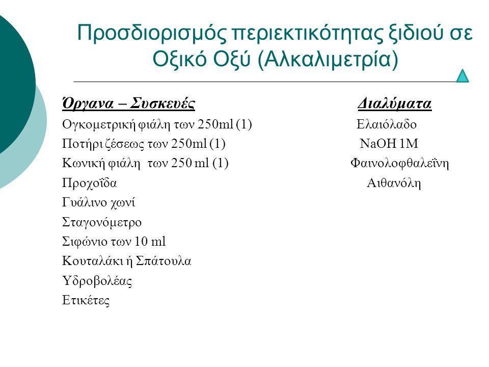 Προσδιορισμός περιεκτικότητας ξιδιού σε Οξικό Οξύ (Αλκαλιμετρία) Όργανα – Συσκευές Διαλύματα Ογκομετρική φιάλη των 250ml (1) Ελαιόλαδο Ποτήρι ζέσεως των 250ml (1) NaOH 1M Κωνική φιάλη των 250 ml (1) Φαινολοφθαλεΐνη Προχοΐδα Αιθανόλη Γυάλινο χωνί Σταγονόμετρο Σιφώνιο των 10 ml Κουταλάκι ή Σπάτουλα Υδροβολέας Ετικέτες